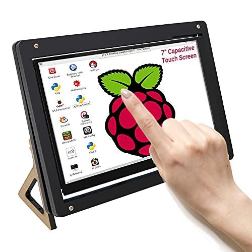 APKLVSR 1024 x 600 IPS Monitor de frambuesa Pi de 7 pulgadas, pantalla táctil con USB y soporte integrado, para Raspberry Pi 4, 3 2 Win PC