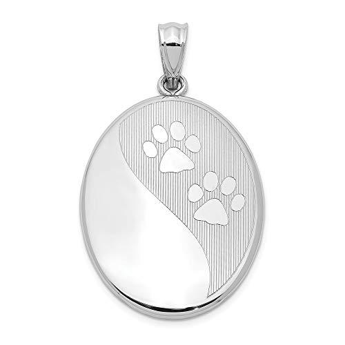 Colgante de plata de ley 925 grabable chapado en rodio pulido con diseño de huellas de perro y gato...
