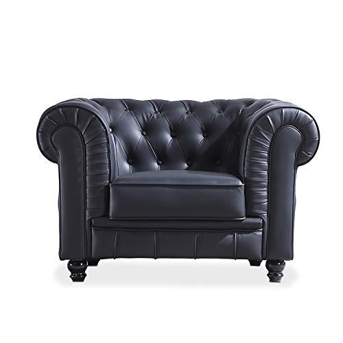 Chesterfield, Sofa Individual de una Plaza, Sillon Descanso, 1 Persona, Acabado en Simil Piel Color Negro y Capitone, Medidas: 115 cm (Largo) x 84 cm (Fondo) x 75 cm (Alto)