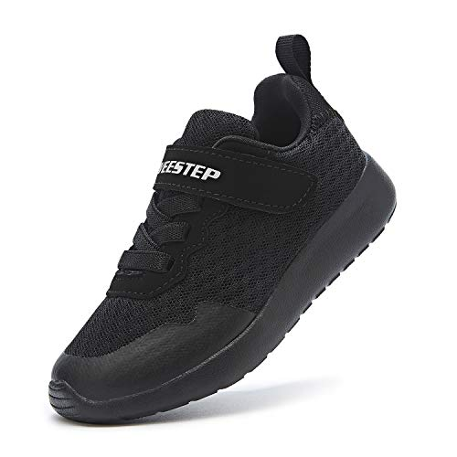 Weestep Little Kid Boys and Girls Lightweight Hook and Loop Running Sneaker, Black, 13 Little Kid