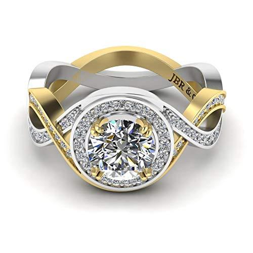 Jbr Anillo de plata de ley de corte redondo con halo dividido, anillo de eternidad, anillo de boda, anillo de aniversario, promesa con caja de regalo de joyería