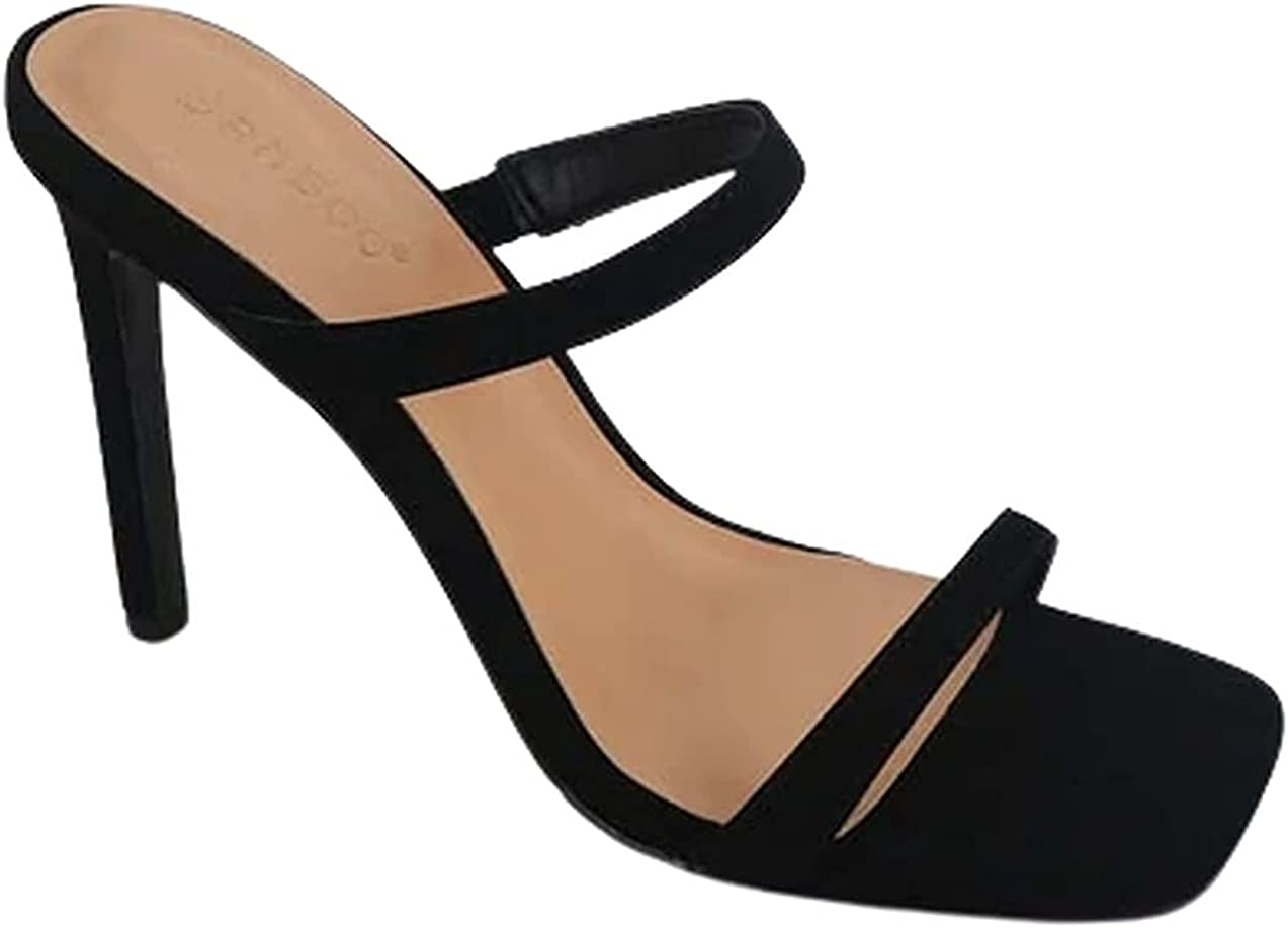 Womens square open toe heeled mules sandals