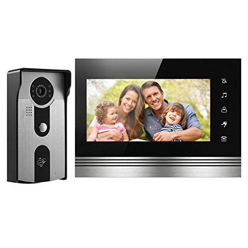Telefonillo portero Color de vídeo de alta definición de 7 pulgadas de intercomunicación puerta chalet tarjeta de identificación a prueba de lluvia desbloqueo de visión nocturna ( Color : Doorbell )