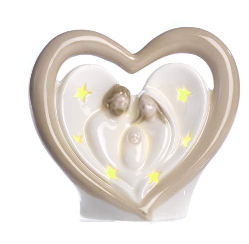 Paben Noel Crèche Nativité cœur en Porcelaine avec lumière LED cm. 9,5 x 10 x 5,2