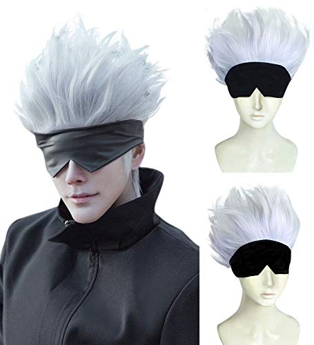 ANOGOL Wig Cap+ 1 Black Blindfold  Light Purple Mix Silver Wig Men Short Wavy Synthetic Hair Wigs with Bangs for Men