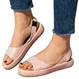 Aniywn Womens Summer Soft Faux Leather Open Toes Casual Elastic Band Sandals Shoes Flatform Wedge Casual Sandal Pink