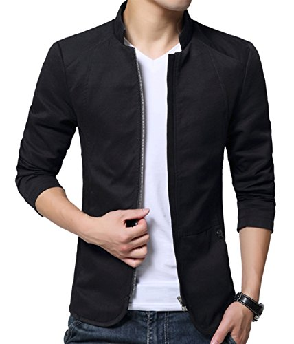 XueYin Men's Cotton Lightweight Slim Fit Jacket Casual Wear(Black,M size)