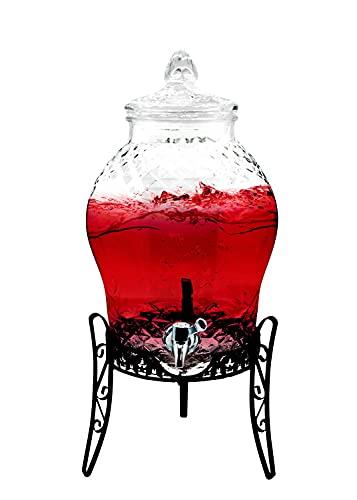 Feinbach Getränkespender 10 Liter aus Glas | inkl. Getränkehalter | mit Zapfhahn | Wasserspender | Limonadenspender | Saftspender | Bowle | Dispenser