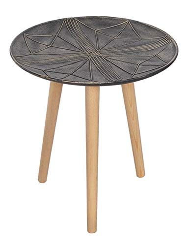Plateau géométrique Simple Plateau latéral de Petite Table Design pour Table Basse Table Ronde créative en pin, métal Noir, Plusieurs Dimensions en Option