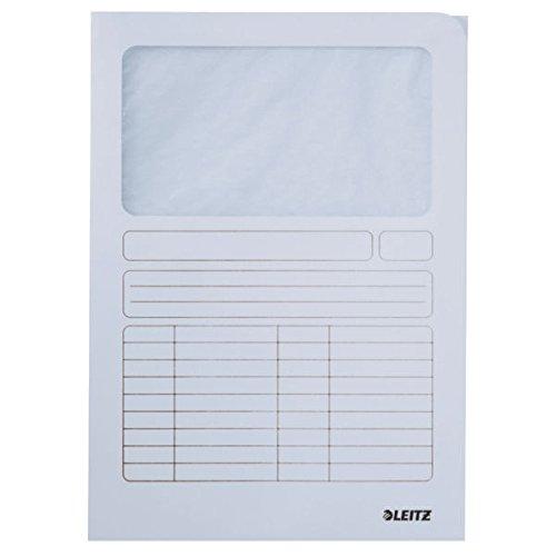 Leitz 3950-00-01 Sichtmappe, A4, Oben und rechte Seite offen, Karton, weiß, Pack mit 100 Stück