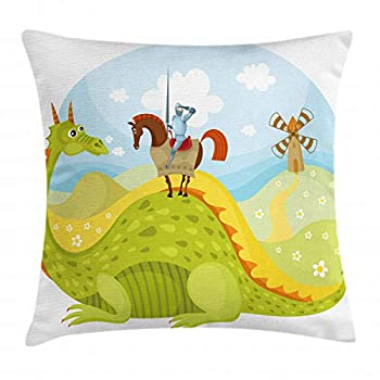 Ambesonne Fantasy Throw Pillow Cushion Cover Knight Don Quixote Horse on Dragon Valley Medieval Image Decorative Square Accent Pillow Case 16  X 16  Apple Green Sky Blue