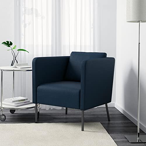 Panana Fabric Accent Chair Living Room Armchair Tub Side Chair Sofa Lounge Chair With Back Cushion (Dark Blue)