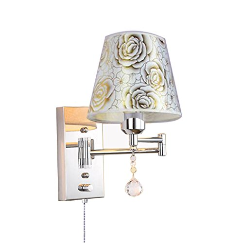 LIN XIAO HAO mayu Pull Chain Switch Wall Sconce E27 Swing Arm Lamp Retro Metal Crystal and Cloth Shade Living Room Bedroom Bedside Study Wall Lamp (Size : 3225cm)