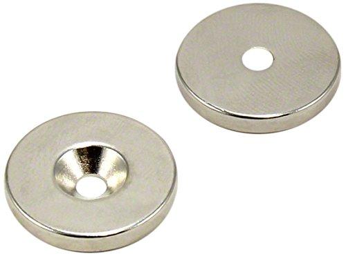 First4magnets F406S-2 20mm Durchmesser x 3mm Dicke X 3,6 mm c/s Loch N42 Neodym-Magneten - 4,5 kg ziehen (Süd) (2 Stück), silver, 25 x 10 x 3 cm