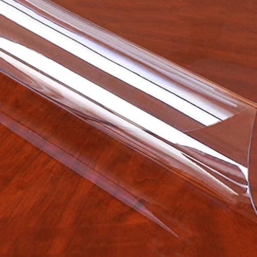 AMSXNOO Copritavolo Trasparente, Liscio Impermeabile Antiscivolo Resistente PVC Spesso 1,5 Mm, Tovaglia Trasparente Plastificata per Scrivanie da Ufficio Tavolini da caffè Ristoranti