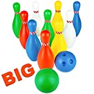 Jerryvon Bowling Set Kids Plastic Skittles Game 10 Pin & 2 Balls Indoor Toys Early Learning Party Favors Easter Gifts for Boys Girls Toddler 3 4 Year Old