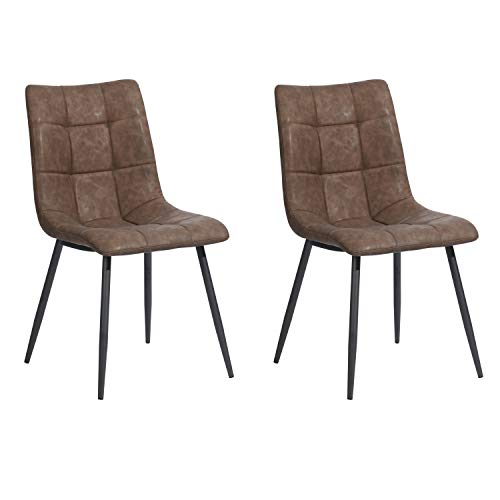 FurnitureR Juego de 2 sillas de comedor modernas con asiento tapizado de poliuretano gris, sillas Mid Century Sillas auxiliares de...