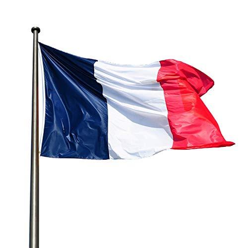 KliKil Bandera Francia Grande - Pack de 2 Banderas, Bandera de Francia Balcon, Bandera Francés para Exterior Jardin y Mastil, France Flag - 150x90 cm