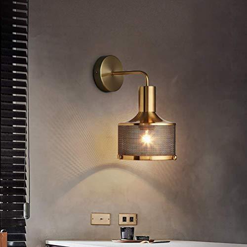 Lámpara de pared industrial vintage con pantalla de metal negro E27, lámpara de pared de noche para dormitorio, lámpara de interior para sala de estar, comedor, pasillo, cocina, escalera, bronce