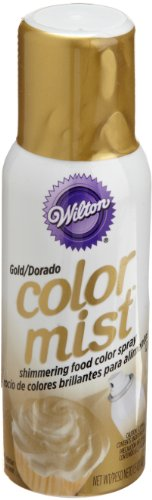 Wilton Color Mist, Shimmering Food Color Spray, for Decorating Cakes, Cookies, Cupcakes or any Food for a Dazzling Effect, 1.5 Ounces, Gold