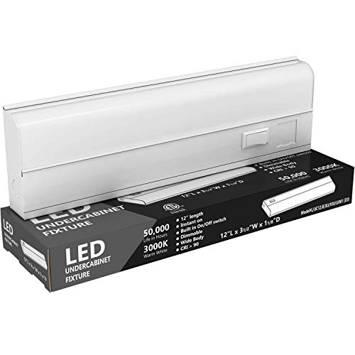 """Hardwired LED Under Cabinet Lighting - 8 Watt, 12"""", Dimmable, CRI>90, 3000K (Warm White), Wide Body, Long Lasting Metal Base with Frost Lens"""