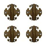 Tiazza 4pcs antiguas puertas de latón puro doble bisagras muebles gabinete cajón puerta bisagras extraíbles