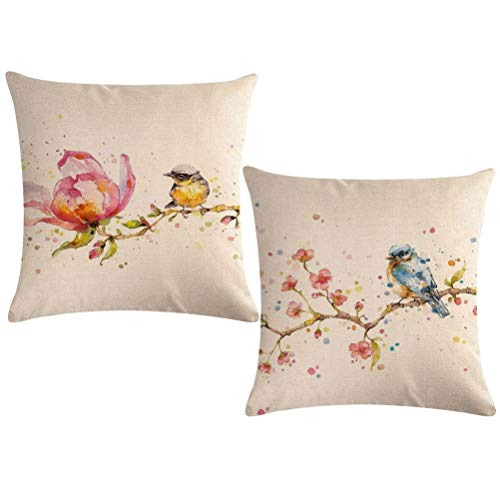"Watercolor Painting Throw Pillow Covers Birds On The Tree With Spring Pink Flowers Pillow Covers Home Decorative Square Pillowcase 18""×18"",2Pack for Sofa,Couch,Bed(Watercolor Painting-birds)"