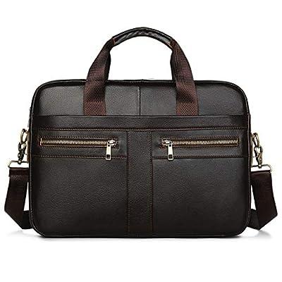 Sacoche pour Ordinateur Portable en Cuir pour Homme, Vintage Sac à l'Épaule Sac fit 14 inch Bandoulière Besace