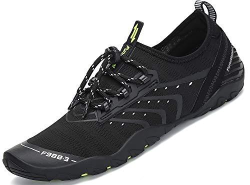 SAGUARO Unisex Barefoot Escarpines Zapatos de Agua Playa Hombre Mujer Minimalistas Zapatillas de Deportes Acuáticos Secado Rápido Calzado, Negro 44
