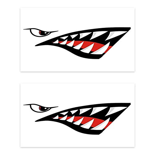 Yuaja 2 Pieces/Set of Shark Mouth Reflective Stickers for Fish Boat Canoe car Truck Shark Eyes Shark Teeth Reflective Decals Stickers