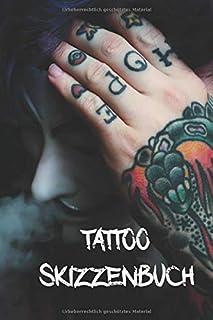 Tattoo Skizzenbuch: A5 Tattoo Skizzenbuch Journal mit über
