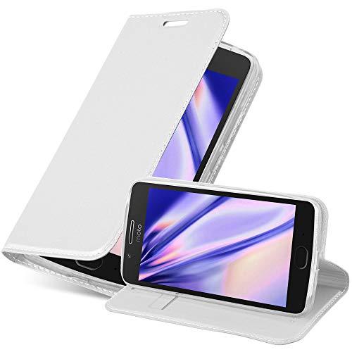 Cadorabo Hülle für Motorola Moto G5 in Classy Silber - Handyhülle mit Magnetverschluss, Standfunktion und Kartenfach - Case Cover Schutzhülle Etui Tasche Book Klapp Style