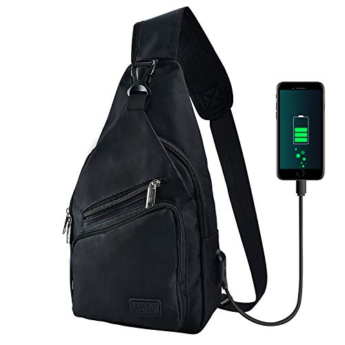 AMJ Sling Bag Shoulder Backpack Chest Bags Crossbody Daypack with USB Cable for Hiking Camping Outdoor Trip Women Men Black