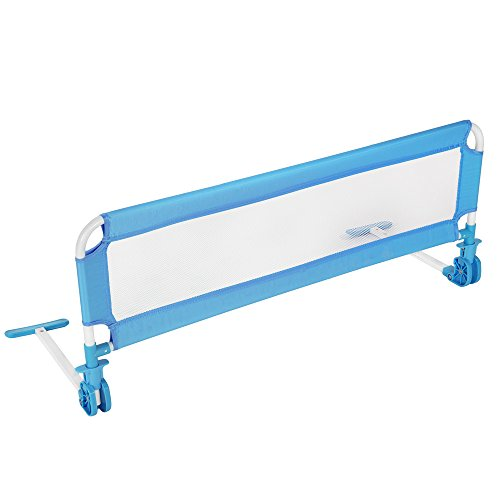 TecTake Kinder Bettgitter Bettschutzgitter 112 cm -diverse Farben- (Blau)