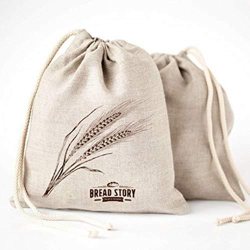 Pan bolsas de lino, 2 unidades, 30x40cm ideal para pan casero, sin blanquear, reutilizable,de almacenamiento de alimentos para Artisan pan – panadería y Baguette