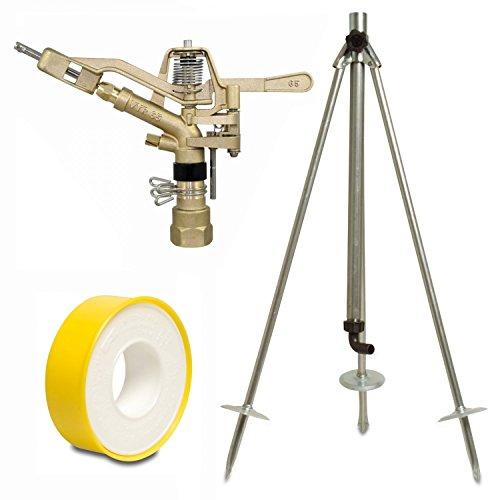 Vyrsa Kreis-und Sektorenregner VYR-65, 1 Zoll, Komplettset mit Dreibeinstativ und 12m PTFE-Dichtungsband, Kreisregner, Sektorenregner, Impulsregner, Teilkreisregner