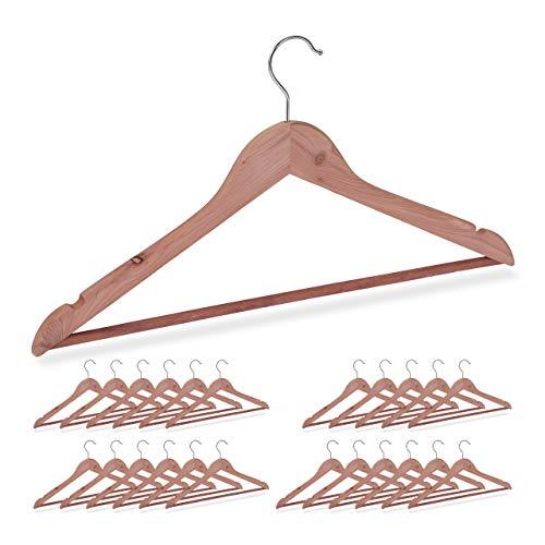 Relaxdays 24 x Kleiderbügel Zedernholz, Mottenschutz im Kleiderschrank, edles Design, eingekerbt, B: 44 cm, Bügel Set, Natur