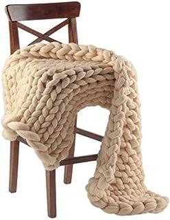 LICHUXIN Couverture géante faite à la main en tricot épais doux et épais pour lit, canapé, tapis de yoga, décoration d'int...