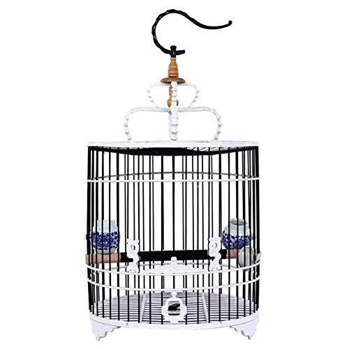 Meetshine Vogelkäfig, tragbar, mit Porzellan-Futterschale und Abdecktuch, Holz Keramik PVC, schwarz/weiß, cage