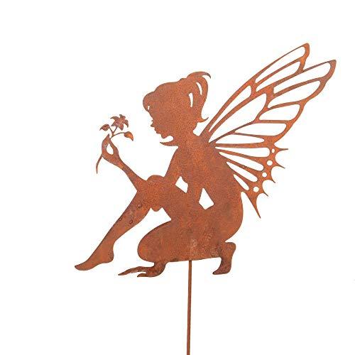 UNUS Zink Elfe sitzend mittel, Gartendeko Rostoptik, Gartenstecker aus Edelrost, Rost Deko für Garten, Terrasse Balkon Blumentopf