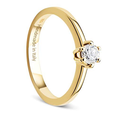 Orovi Damen Ring Gelbgold 0.25 Ct Solitär Diamant Verlobungsring 14 Karat (585) Gold und Diamant Brillanten Ring Handgemacht in Italien