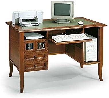Bureau, bureau, meuble d'ordinateur, Art Povera, couleur noyer, 2 tiroirs en bois et 2 tiroirs en verre – Dimensions 130
