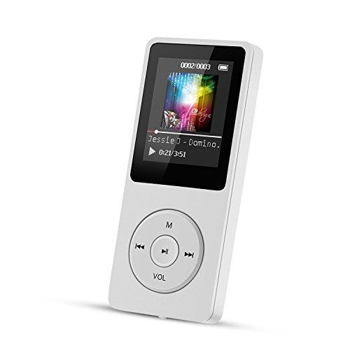 AGPTek A02 IL lettore MP3 8 GB schermo 1,8' con Radio e registratore, Il tempo di riproduzione è fino a 70 ore,Bianco