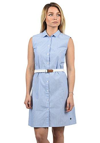 DESIRES Drew Damen Blusenkleid Lange Bluse Kleid Mit Nadelstreifen Aus 100% Baumwolle Knielang, Größe:XS, Farbe:Sky Blue (1025)