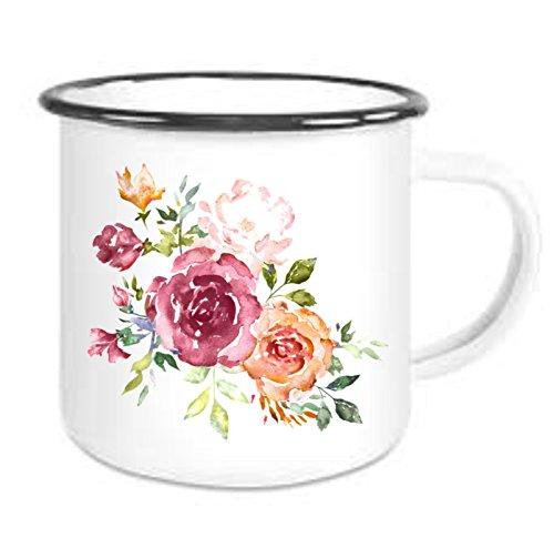 Crealuxe Emaille Tasse mit Rand Vintage Nostalgie Floral 5