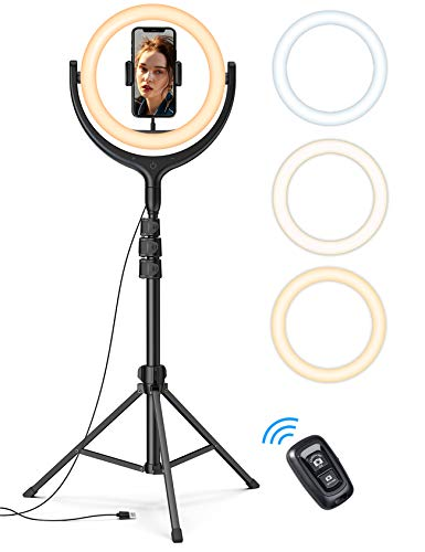 10'' Selfie Ring Light 67'' Tripod Stand - Lamicall LED Circle Halo Light with Cell Phone Holder for Live Stream/Makeup/YouTube Video Recording/Photography, ARO De Luz Compatible with All Phones