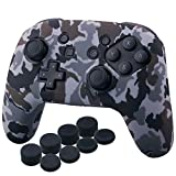 YoRHa Studded Silicone Transfer Print Cover Skin Case ONLY for Nitendo Official Switch Pro Controller x 1(Camouflage Grey) with Pro Thumb Grips x 8