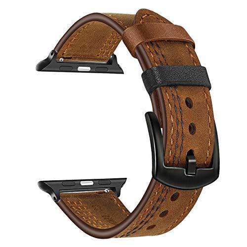 TRUMiRR Reemplazo para Apple Watch 42mm 44mm/Apple Watch Series 6 Correa, Correa de Reloj de Cuero de Doble Color con Pulsera de liberación rápida para Apple Watch SE/Apple Watch Series 6 5 4