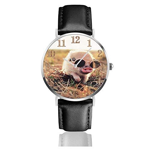 Reloj de Pulsera Cute Pet Pig con Gafas de Sol Durable PU Correa de Cuero Relojes de Negocios de Cuarzo Reloj de Pulsera Informal Unisex