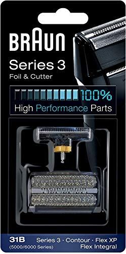 Braun 31B - Recambio para afeitadora eléctrica hombre para Series 3 (antigua generación), Contour, Flex XP y Flex Integral, lámina y bloque cortante